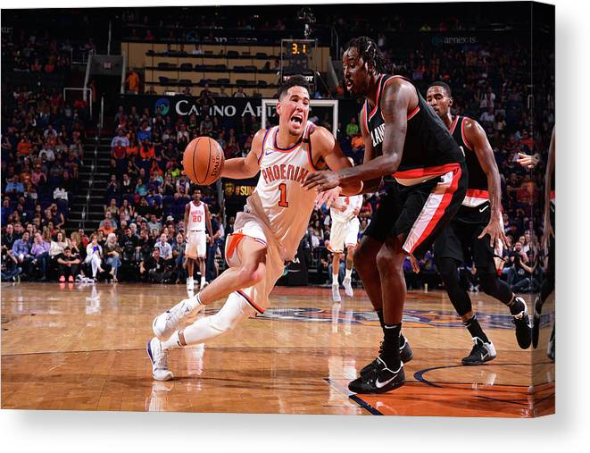 Nba Pro Basketball Canvas Print featuring the photograph Devin Booker by Michael Gonzales