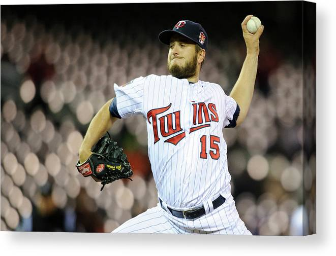 Game Two Canvas Print featuring the photograph Glen Perkins by Hannah Foslien