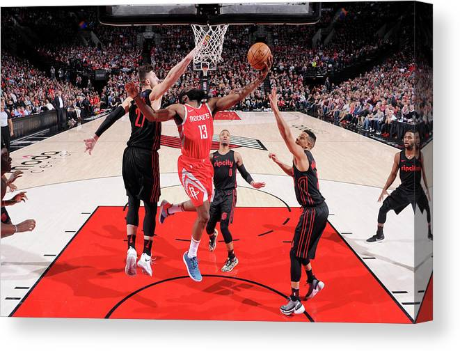 Nba Pro Basketball Canvas Print featuring the photograph James Harden by Sam Forencich
