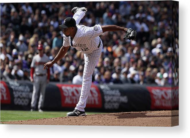 Baseball Pitcher Canvas Print featuring the photograph Juan Nicasio by Doug Pensinger