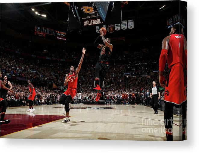 Playoffs Canvas Print featuring the photograph Lebron James by Jeff Haynes
