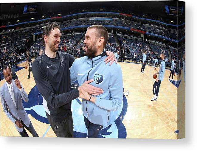 Nba Pro Basketball Canvas Print featuring the photograph Marc Gasol and Pau Gasol by Joe Murphy