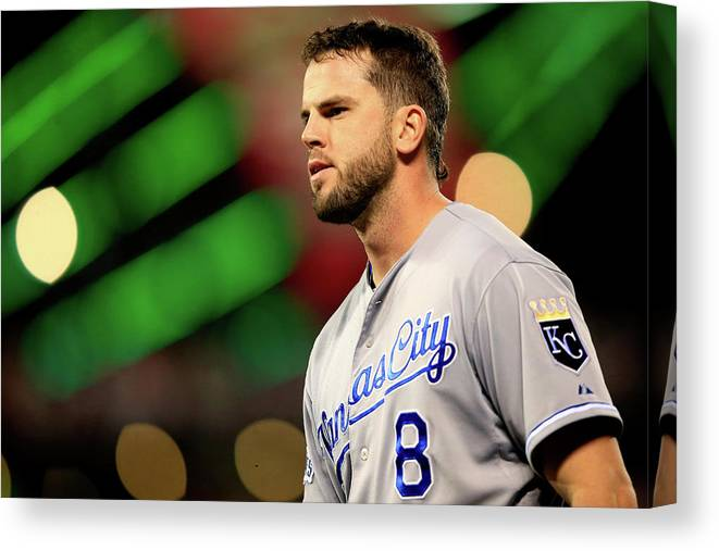 San Francisco Canvas Print featuring the photograph Mike Moustakas by Jamie Squire
