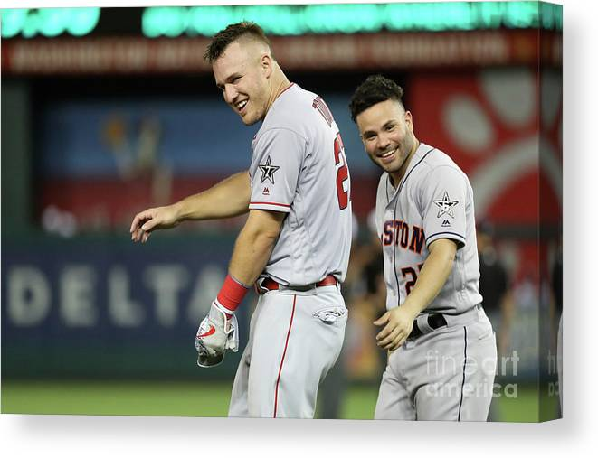 Three Quarter Length Canvas Print featuring the photograph Mike Trout by Rob Carr