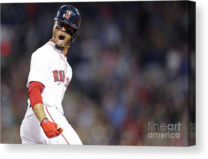 Three Quarter Length Canvas Print featuring the photograph Mookie Betts by Maddie Meyer