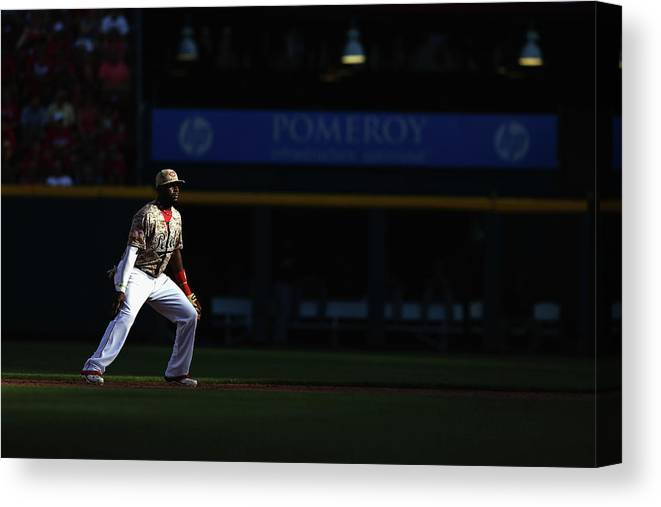 Great American Ball Park Canvas Print featuring the photograph Red Phillips by Andy Lyons