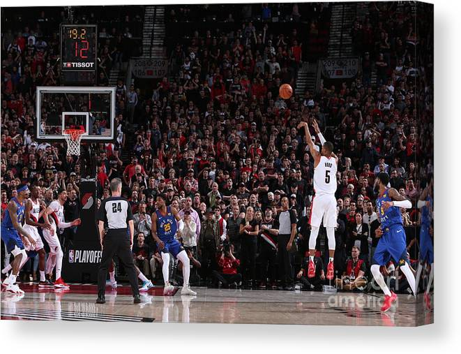 Playoffs Canvas Print featuring the photograph Rodney Hood by Sam Forencich