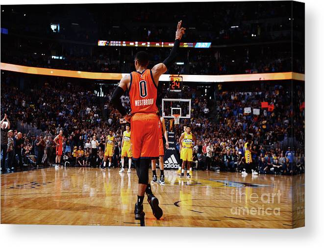 Crowd Canvas Print featuring the photograph Russell Westbrook by Bart Young