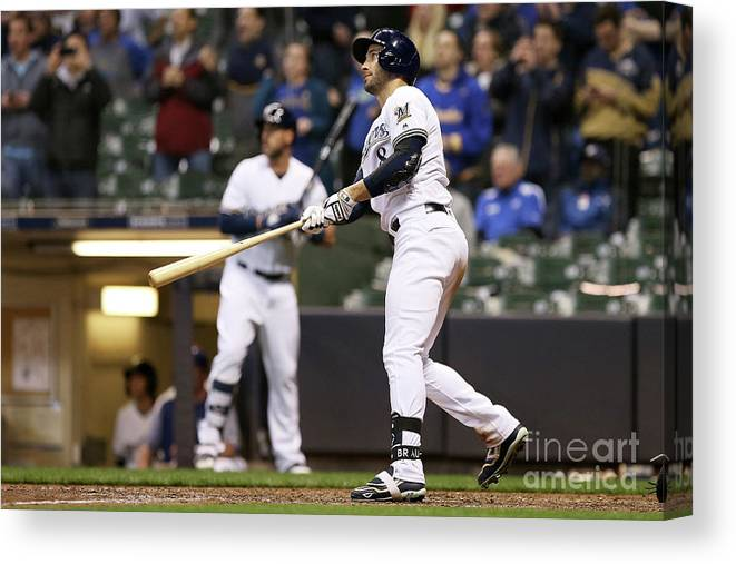 Ninth Inning Canvas Print featuring the photograph Ryan Braun by Dylan Buell
