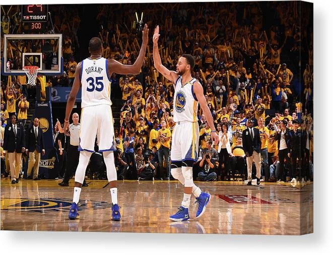 Playoffs Canvas Print featuring the photograph Stephen Curry and Kevin Durant by Noah Graham