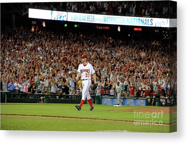 Stephen Strasburg Canvas Print featuring the photograph Stephen Strasburg by Greg Fiume