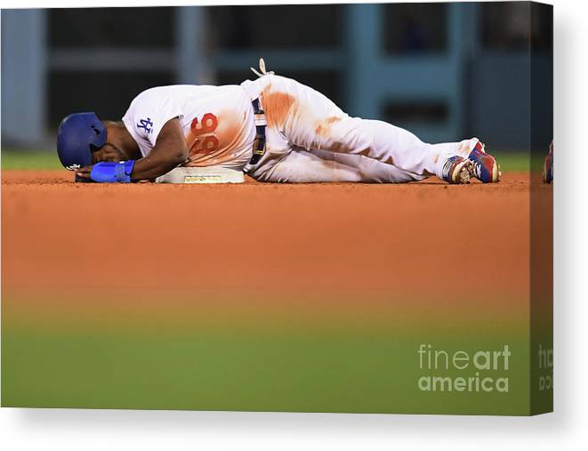 Game Two Canvas Print featuring the photograph Yasiel Puig by Harry How