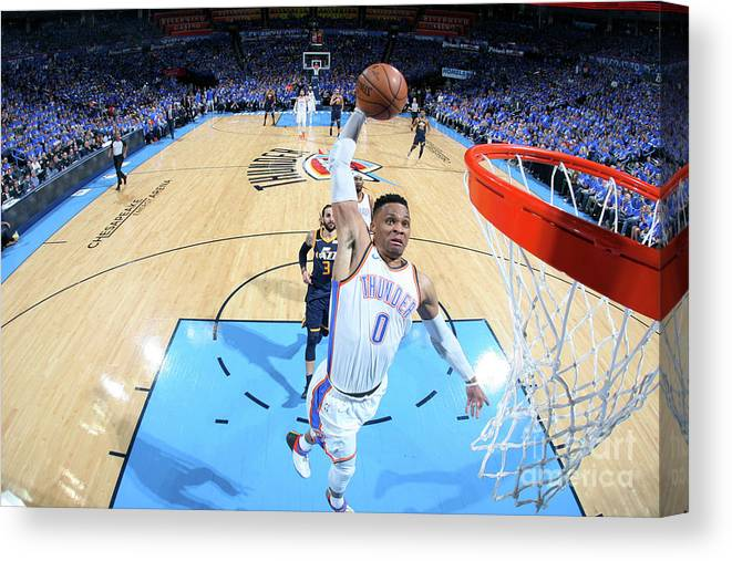 Playoffs Canvas Print featuring the photograph Russell Westbrook by Layne Murdoch
