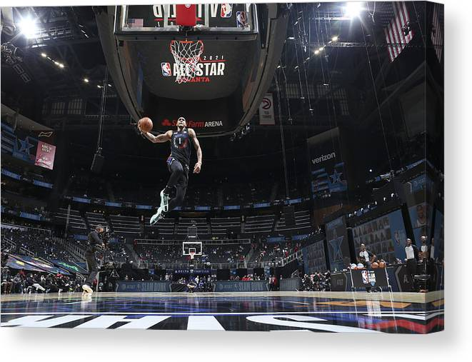 Atlanta Canvas Print featuring the photograph 2021 NBA All-Star - AT&T Slam Dunk Contest by Nathaniel S. Butler