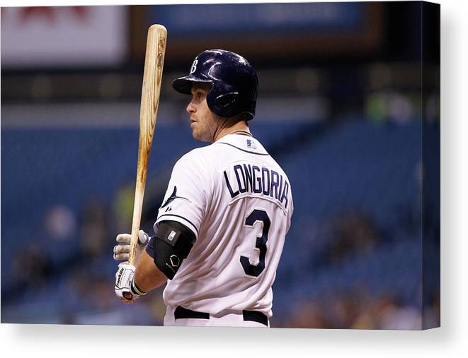 American League Baseball Canvas Print featuring the photograph Evan Longoria by Brian Blanco