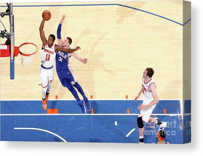 Nba Pro Basketball Canvas Print featuring the photograph Frank Ntilikina by Nathaniel S. Butler