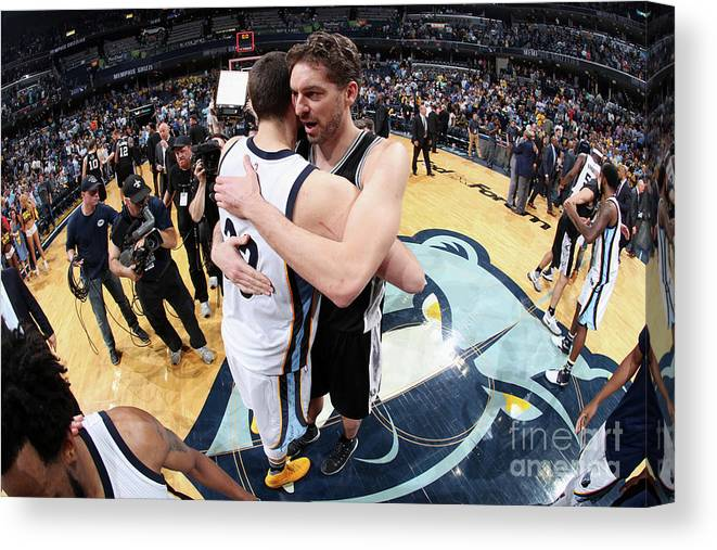 Playoffs Canvas Print featuring the photograph Marc Gasol and Pau Gasol by Joe Murphy