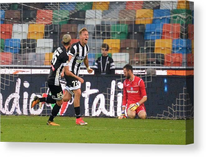 Udine Canvas Print featuring the photograph Udinese Calcio v Atalanta BC - Serie A by Dino Panato