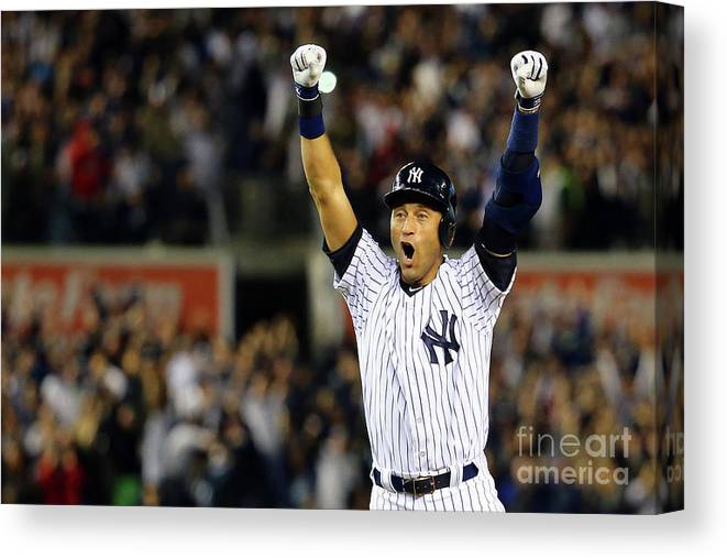 Ninth Inning Canvas Print featuring the photograph Derek Jeter by Al Bello