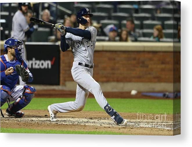 American League Baseball Canvas Print featuring the photograph Christian Yelich by Mike Stobe
