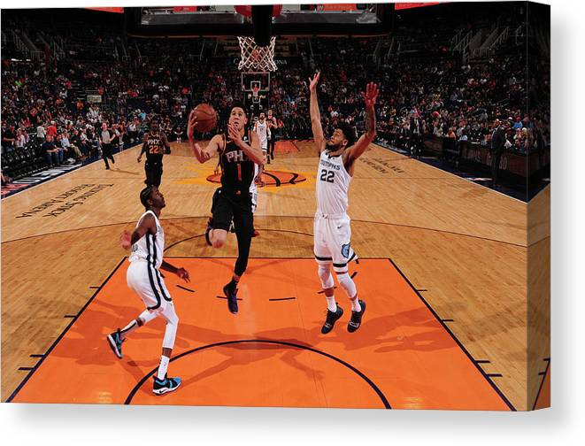 Nba Pro Basketball Canvas Print featuring the photograph Devin Booker by Barry Gossage