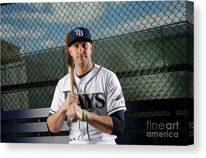 Media Day Canvas Print featuring the photograph Evan Longoria by Brian Blanco