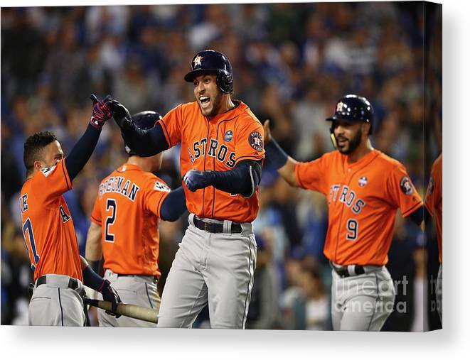 Second Inning Canvas Print featuring the photograph George Springer by Ezra Shaw