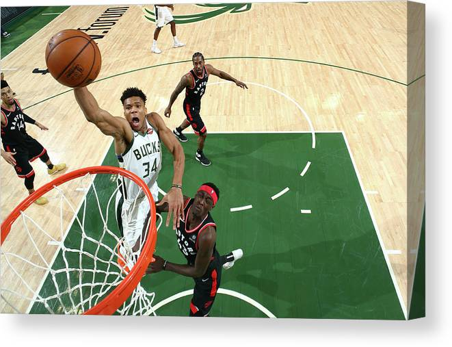 Game Two Canvas Print featuring the photograph Giannis Antetokounmpo by Nathaniel S. Butler