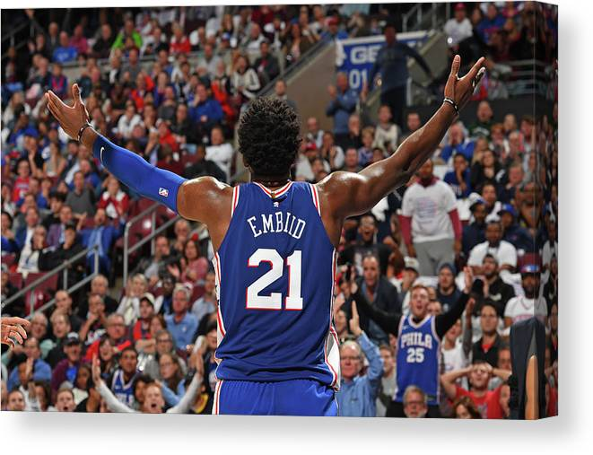 Crowd Canvas Print featuring the photograph Joel Embiid by David Dow