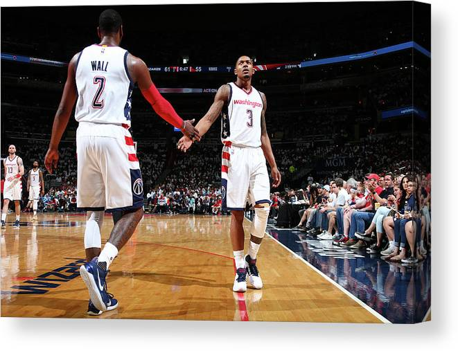 Playoffs Canvas Print featuring the photograph John Wall and Bradley Beal by Ned Dishman