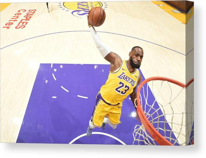 Nba Pro Basketball Canvas Print featuring the photograph Lebron James by Adam Pantozzi