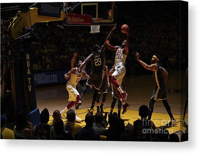 Playoffs Canvas Print featuring the photograph Lebron James by Garrett Ellwood