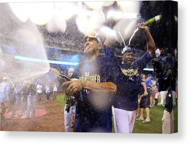 Playoffs Canvas Print featuring the photograph Lorenzo Cain by Ed Zurga