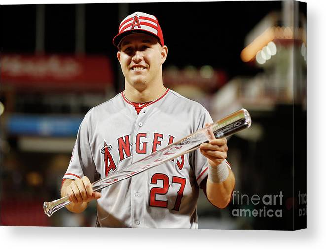 Great American Ball Park Canvas Print featuring the photograph Mike Trout by Rob Carr