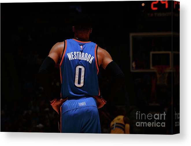 Nba Pro Basketball Canvas Print featuring the photograph Russell Westbrook by Bart Young