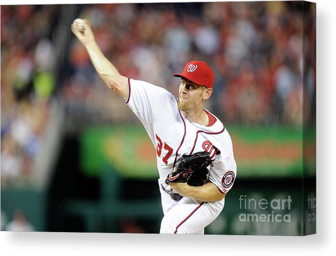 American League Baseball Canvas Print featuring the photograph Stephen Strasburg by Greg Fiume