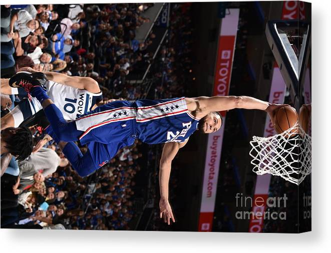Nba Pro Basketball Canvas Print featuring the photograph Ben Simmons by David Dow