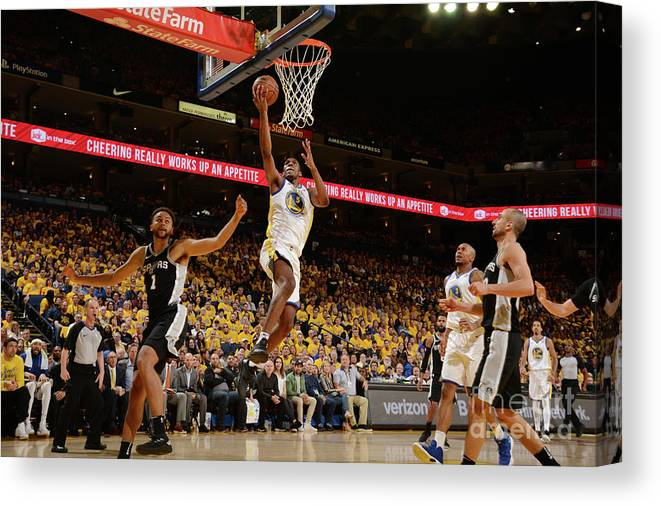 Playoffs Canvas Print featuring the photograph Kevon Looney by Noah Graham