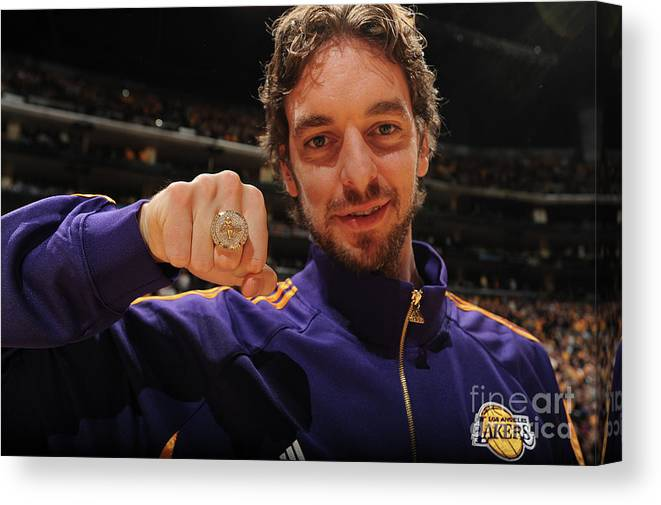 Nba Pro Basketball Canvas Print featuring the photograph Pau Gasol by Andrew D. Bernstein