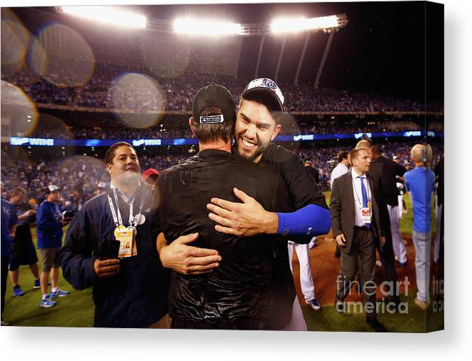 People Canvas Print featuring the photograph Eric Hosmer by Jamie Squire