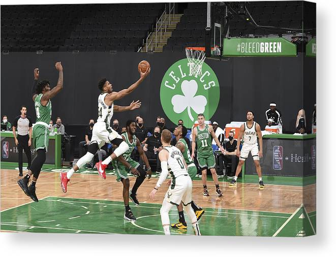Nba Pro Basketball Canvas Print featuring the photograph Giannis Antetokounmpo by Brian Babineau