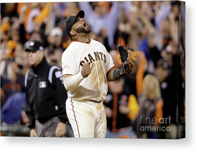 Playoffs Canvas Print featuring the photograph Pablo Sandoval by Ezra Shaw