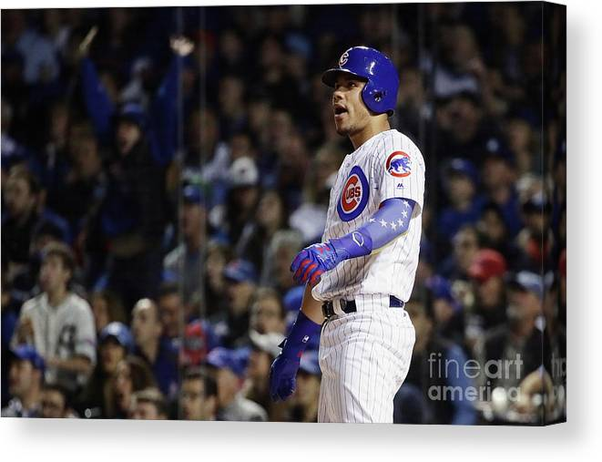 Second Inning Canvas Print featuring the photograph Willson Contreras by Jonathan Daniel