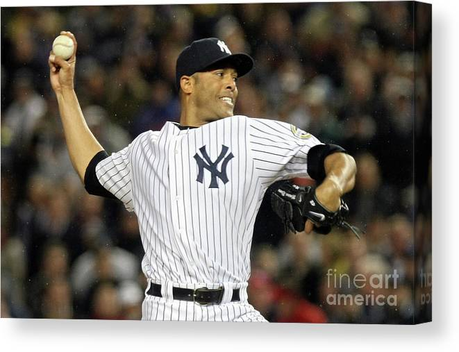 American League Baseball Canvas Print featuring the photograph Mariano Rivera by Nick Laham