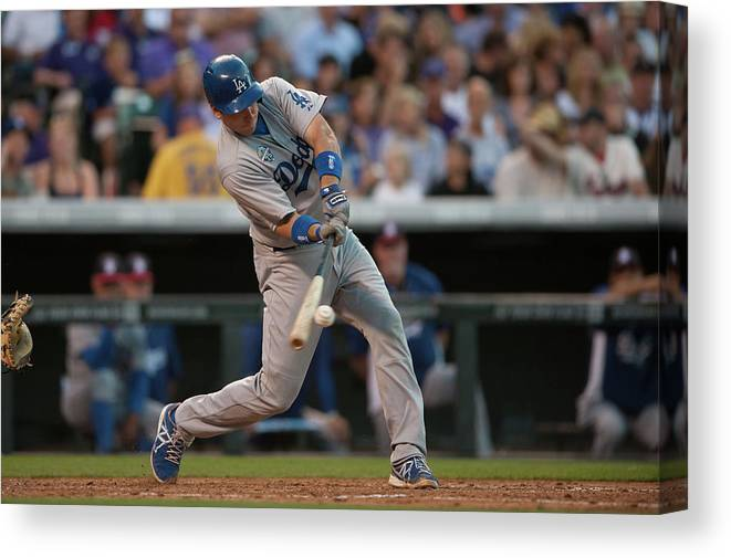 Los Angeles Dodgers Canvas Print featuring the photograph A. J. Ellis by Dustin Bradford