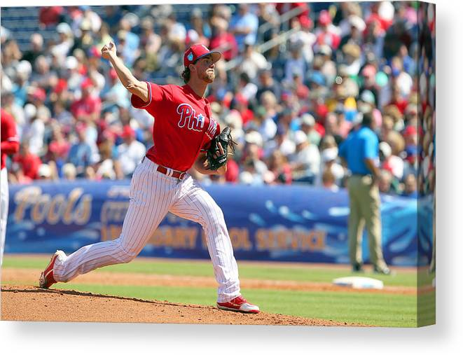 Aaron Nola Canvas Print featuring the photograph Aaron Nola by Icon Sportswire