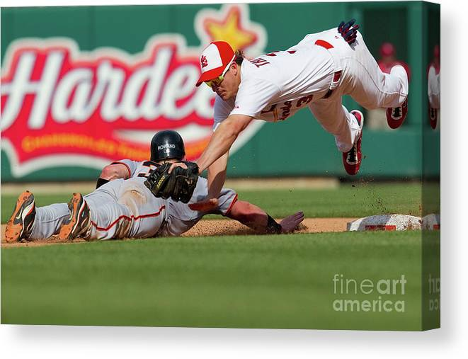 St. Louis Canvas Print featuring the photograph Aaron Rowand and Ryan Theriot by Dilip Vishwanat