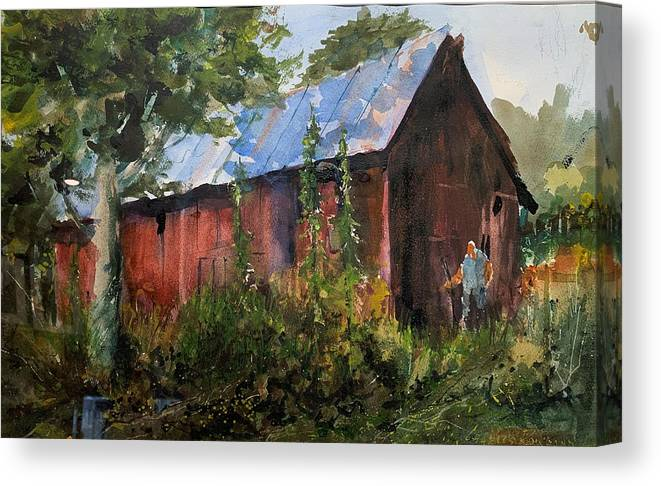 Rural. Barn Canvas Print featuring the painting Abandoned at Aum Creek by Charles Rowland