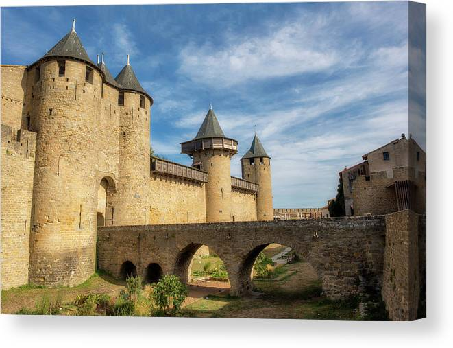Horizontal Canvas Print featuring the photograph Access Bridge To The Medieval Village Of Carcassonne by Vicen Photography
