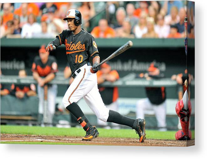 American League Baseball Canvas Print featuring the photograph Adam Jones by Mitchell Layton